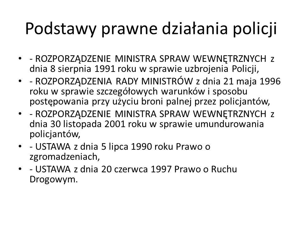 Podstawy prawne działania policji - ROZPORZĄDZENIE MINISTRA SPRAW WEWNĘTRZNYCH z dnia 8 sierpnia 1991 roku w sprawie uzbrojenia Policji, - ROZPORZĄDZE