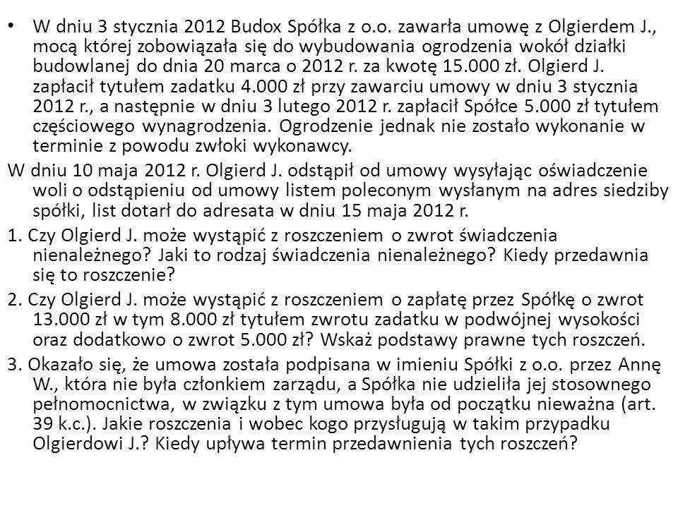 W wykonaniu wyroku sądowego zasądzającego od Janusza W.