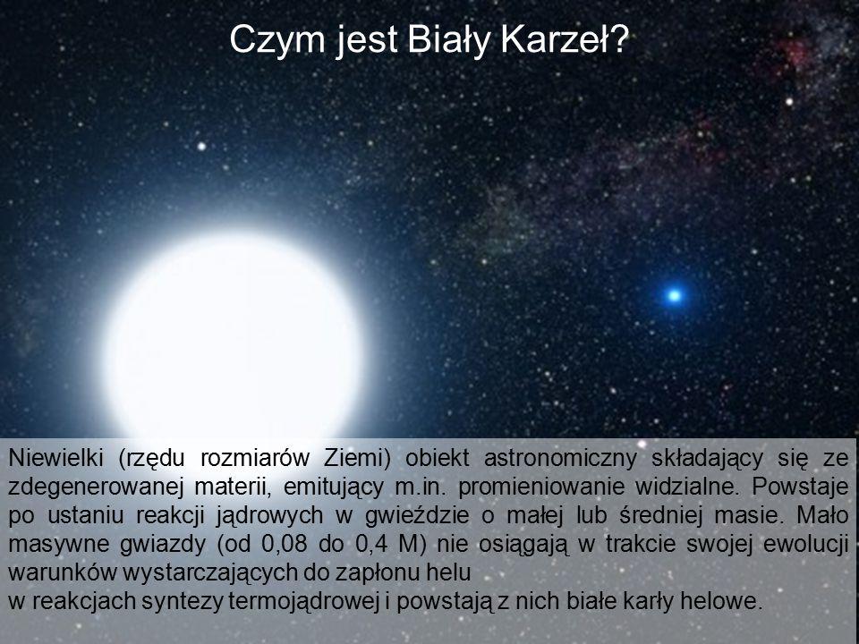 Czym jest Biały Karzeł? Niewielki (rzędu rozmiarów Ziemi) obiekt astronomiczny składający się ze zdegenerowanej materii, emitujący m.in. promieniowani