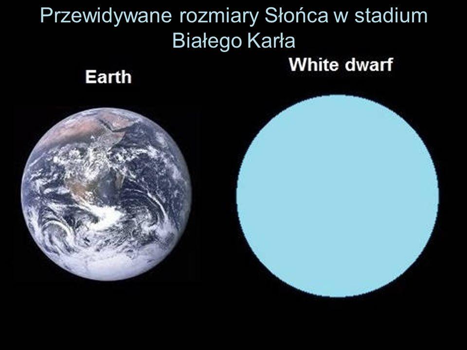 Przewidywane rozmiary Słońca w stadium Białego Karła