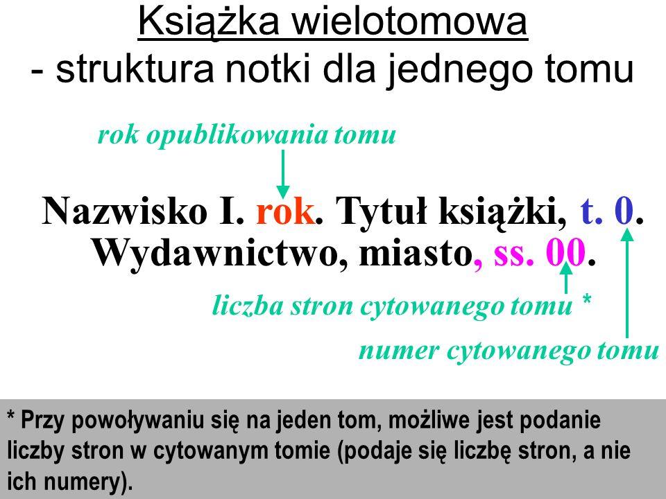 Nazwisko I.rok. Tytuł książki, t. 0. Wydawnictwo, miasto, ss.