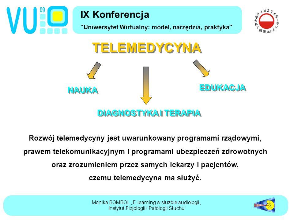 """IX Konferencja Uniwersytet Wirtualny: model, narzędzia, praktyka Monika BOMBOL """"E-learning w służbie audiologii"""" Instytut Fizjologii i Patologii Słuchu TELEMEDYCYNA NAUKA NAUKA EDUKACJA EDUKACJA DIAGNOSTYKA I TERAPIA DIAGNOSTYKA I TERAPIA Rozwój telemedycyny jest uwarunkowany programami rządowymi, prawem telekomunikacyjnym i programami ubezpieczeń zdrowotnych oraz zrozumieniem przez samych lekarzy i pacjentów, czemu telemedycyna ma służyć."""