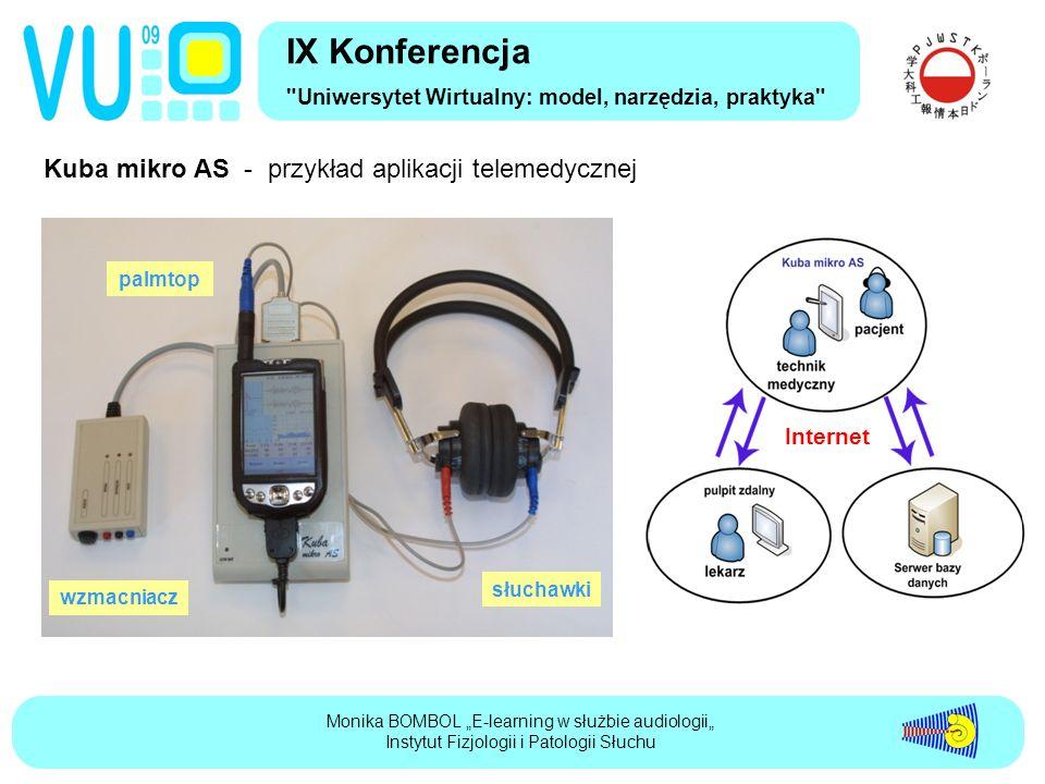 """Kuba mikro AS - przykład aplikacji telemedycznej IX Konferencja Uniwersytet Wirtualny: model, narzędzia, praktyka Monika BOMBOL """"E-learning w służbie audiologii"""" Instytut Fizjologii i Patologii Słuchu palmtop słuchawki wzmacniacz Internet"""