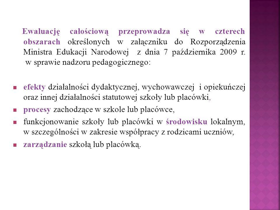 Ewaluację całościową przeprowadza się w czterech obszarach określonych w załączniku do Rozporządzenia Ministra Edukacji Narodowej z dnia 7 października 2009 r.