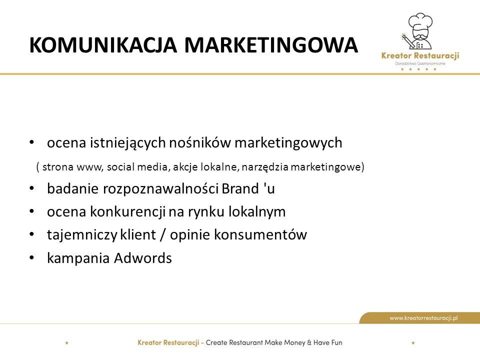 KOMUNIKACJA MARKETINGOWA ocena istniejących nośników marketingowych ( strona www, social media, akcje lokalne, narzędzia marketingowe) badanie rozpoznawalności Brand u ocena konkurencji na rynku lokalnym tajemniczy klient / opinie konsumentów kampania Adwords