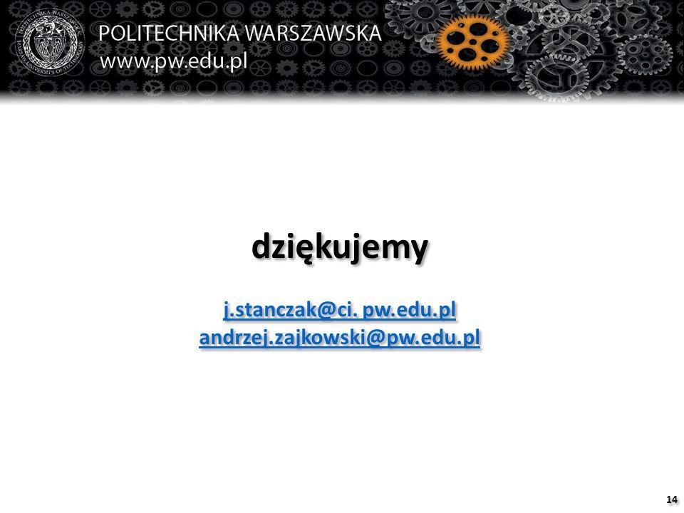dziękujemy j.stanczak@ci. pw.edu.pl andrzej.zajkowski@pw.edu.pl dziękujemy j.stanczak@ci.