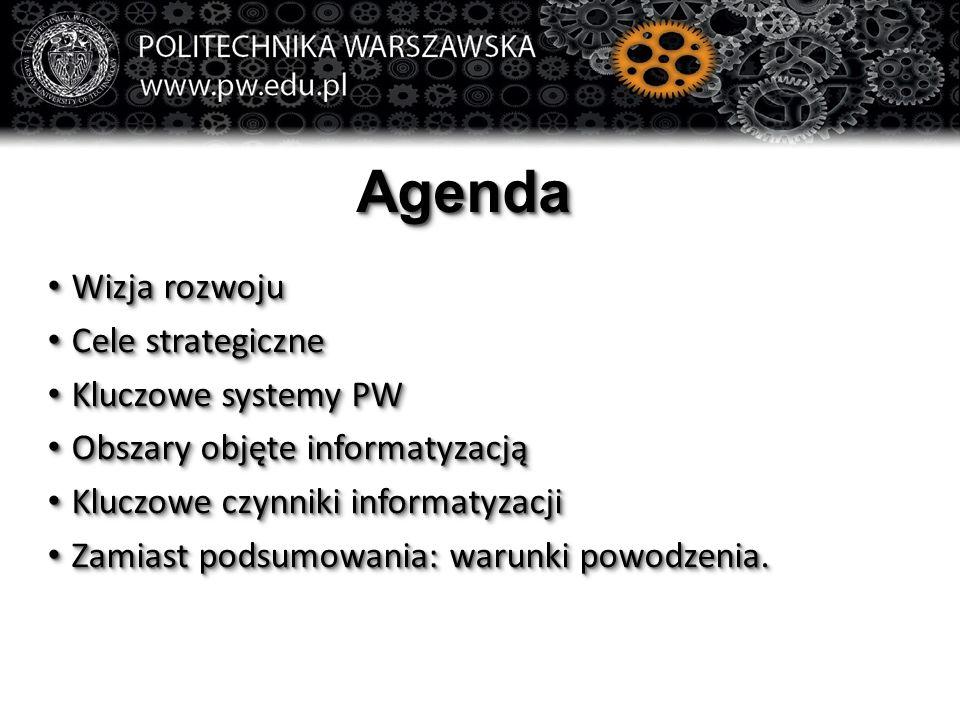 AgendaAgenda Wizja rozwoju Wizja rozwoju Cele strategiczne Cele strategiczne Kluczowe systemy PW Kluczowe systemy PW Obszary objęte informatyzacją Obszary objęte informatyzacją Kluczowe czynniki informatyzacji Kluczowe czynniki informatyzacji Zamiast podsumowania: warunki powodzenia.
