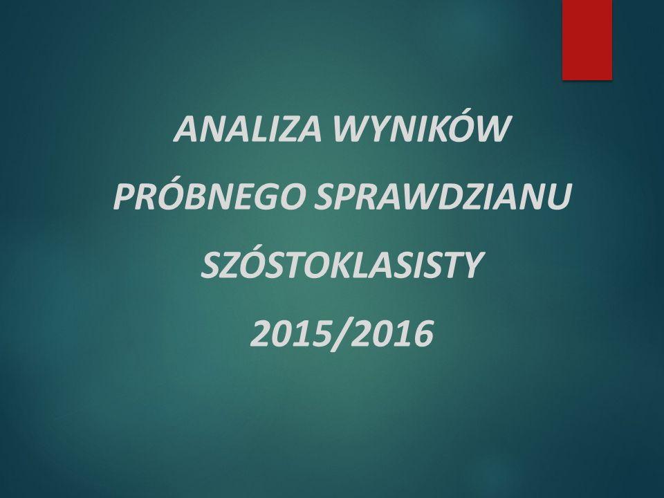 ANALIZA WYNIKÓW PRÓBNEGO SPRAWDZIANU SZÓSTOKLASISTY 2015/2016