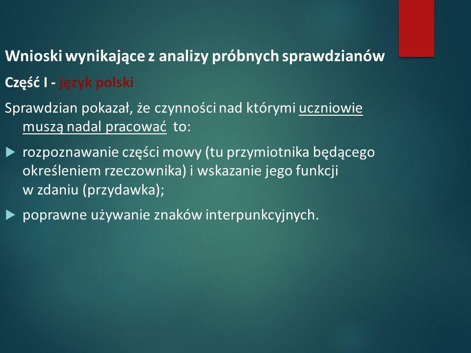 Wnioski wynikające z analizy próbnych sprawdzianów Część I - język polski Sprawdzian pokazał, że czynności nad którymi uczniowie muszą nadal pracować to:  rozpoznawanie części mowy (tu przymiotnika będącego określeniem rzeczownika) i wskazanie jego funkcji w zdaniu (przydawka);  poprawne używanie znaków interpunkcyjnych.