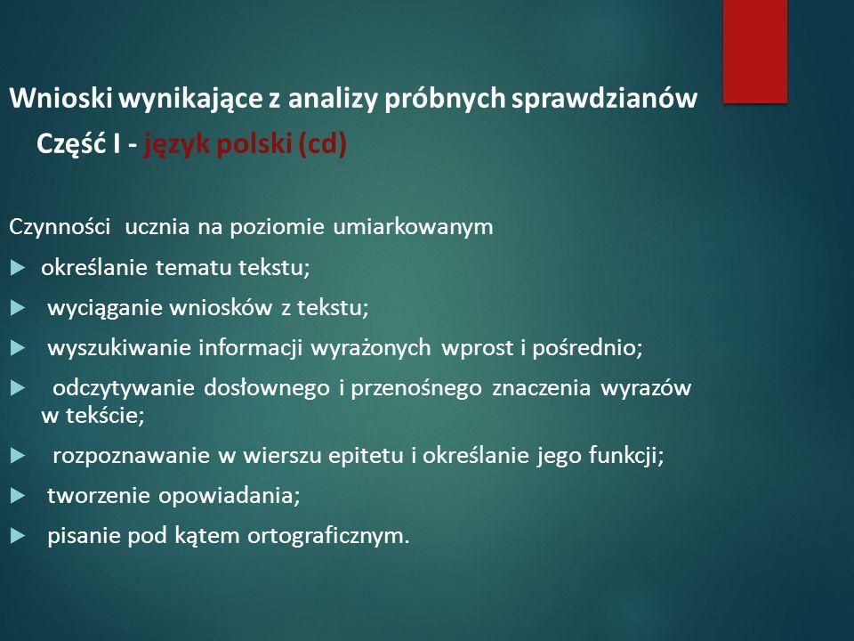 Wnioski wynikające z analizy próbnych sprawdzianów Część I - język polski (cd) Czynności ucznia na poziomie umiarkowanym  określanie tematu tekstu;  wyciąganie wniosków z tekstu;  wyszukiwanie informacji wyrażonych wprost i pośrednio;  odczytywanie dosłownego i przenośnego znaczenia wyrazów w tekście;  rozpoznawanie w wierszu epitetu i określanie jego funkcji;  tworzenie opowiadania;  pisanie pod kątem ortograficznym.