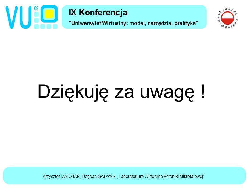 """Krzysztof MADZIAR, Bogdan GALWAS, """"Laboratorium Wirtualne Fotoniki Mikrofalowej IX Konferencja Uniwersytet Wirtualny: model, narzędzia, praktyka Dziękuję za uwagę !"""