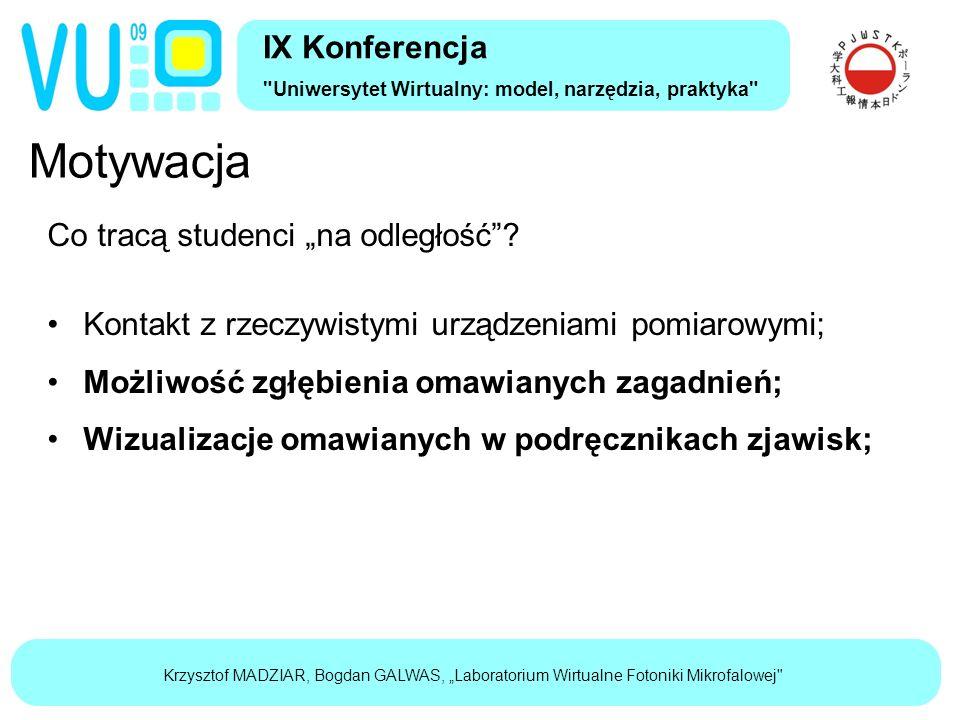 """Krzysztof MADZIAR, Bogdan GALWAS, """"Laboratorium Wirtualne Fotoniki Mikrofalowej Motywacja IX Konferencja Uniwersytet Wirtualny: model, narzędzia, praktyka Co tracą studenci """"na odległość ."""