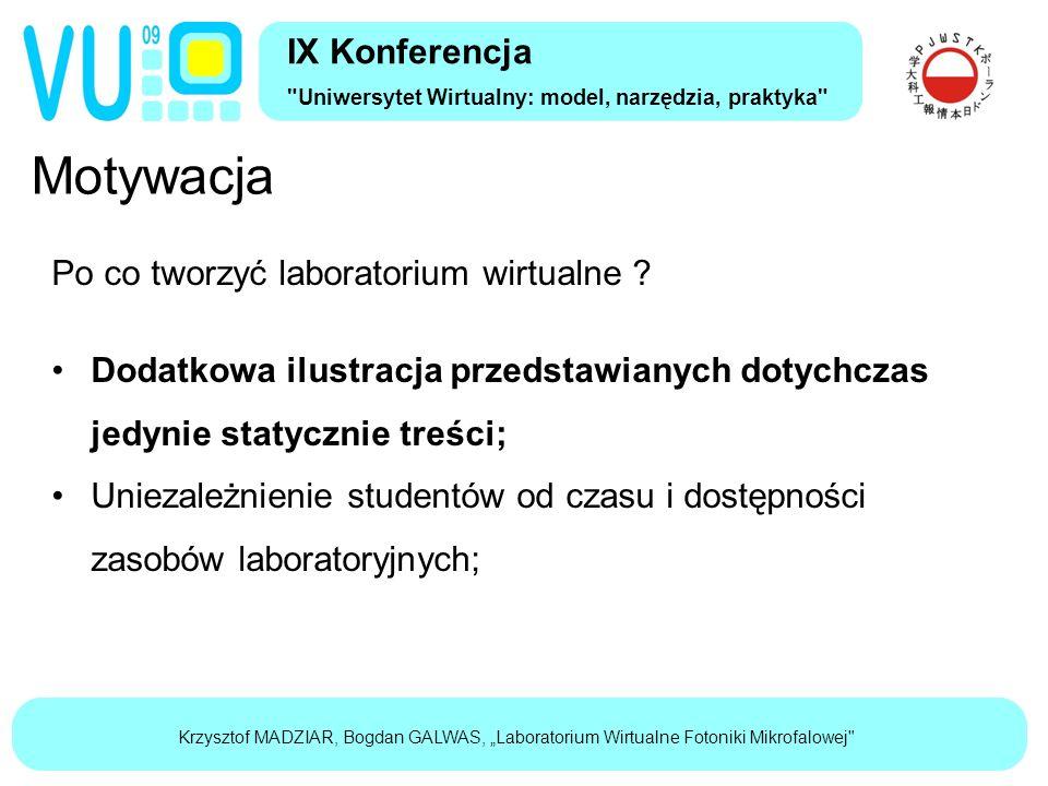 """Krzysztof MADZIAR, Bogdan GALWAS, """"Laboratorium Wirtualne Fotoniki Mikrofalowej Motywacja IX Konferencja Uniwersytet Wirtualny: model, narzędzia, praktyka Po co tworzyć laboratorium wirtualne ."""