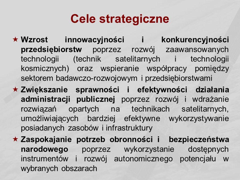 Cele strategiczne  Wzrost innowacyjności i konkurencyjności przedsiębiorstw poprzez rozwój zaawansowanych technologii (technik satelitarnych i technologii kosmicznych) oraz wspieranie współpracy pomiędzy sektorem badawczo-rozwojowym i przedsiębiorstwami  Zwiększanie sprawności i efektywności działania administracji publicznej poprzez rozwój i wdrażanie rozwiązań opartych na technikach satelitarnych, umożliwiających bardziej efektywne wykorzystywanie posiadanych zasobów i infrastruktury  Zaspokajanie potrzeb obronności i bezpieczeństwa narodowego poprzez wykorzystanie dostępnych instrumentów i rozwój autonomicznego potencjału w wybranych obszarach