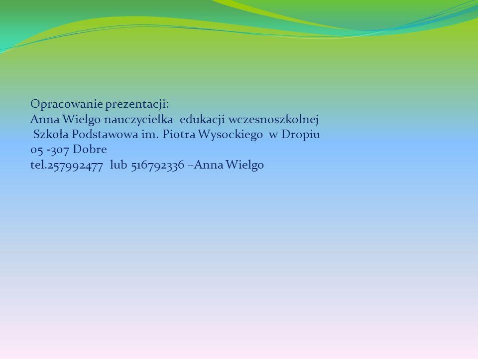 Opracowanie prezentacji: Anna Wielgo nauczycielka edukacji wczesnoszkolnej Szkoła Podstawowa im.