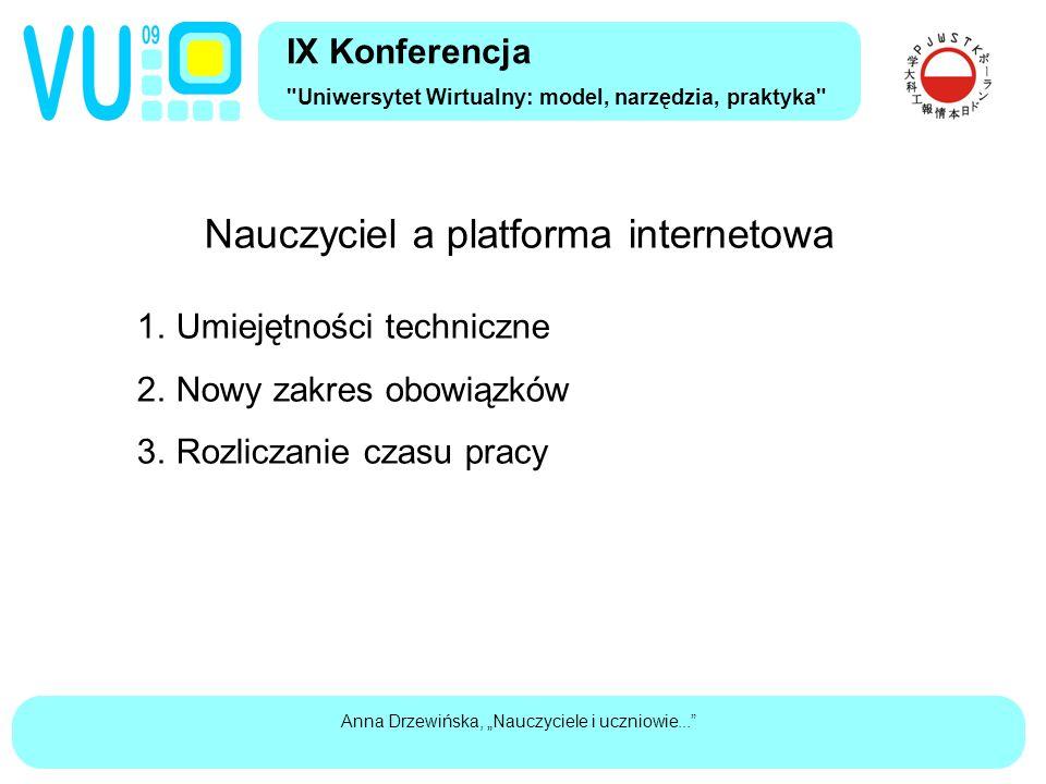 """Anna Drzewińska, """"Nauczyciele i uczniowie... Nauczyciel a platforma internetowa 1."""