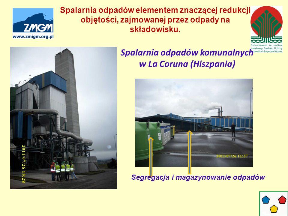 Spalarnia odpadów komunalnych w La Coruna (Hiszpania) Segregacja i magazynowanie odpadów Spalarnia odpadów elementem znaczącej redukcji objętości, zajmowanej przez odpady na składowisku.
