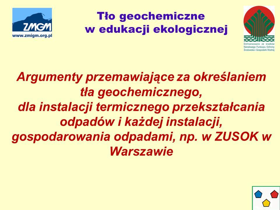 Tło geochemiczne w edukacji ekologicznej Argumenty przemawiające za określaniem tła geochemicznego, dla instalacji termicznego przekształcania odpadów i każdej instalacji, gospodarowania odpadami, np.