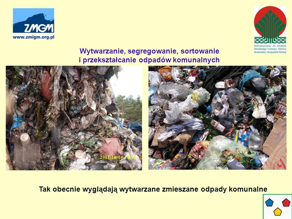 Wytwarzanie, segregowanie, sortowanie i przekształcanie odpadów komunalnych Tak obecnie wyglądają wytwarzane zmieszane odpady komunalne