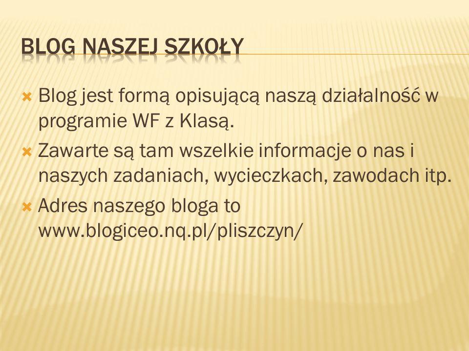  Blog jest formą opisującą naszą działalność w programie WF z Klasą.