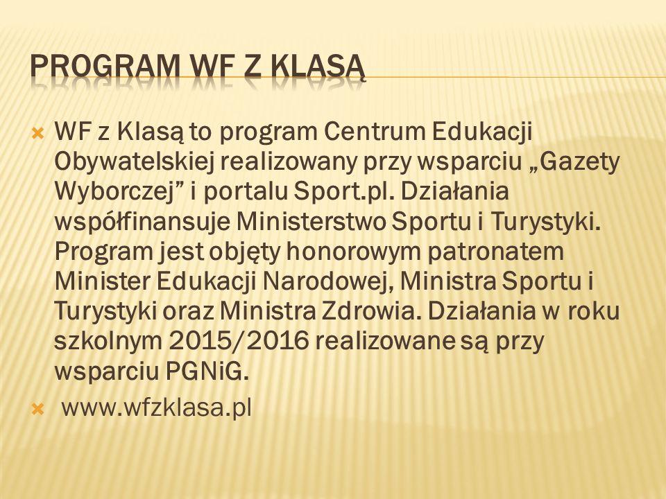 """ WF z Klasą to program Centrum Edukacji Obywatelskiej realizowany przy wsparciu """"Gazety Wyborczej i portalu Sport.pl."""