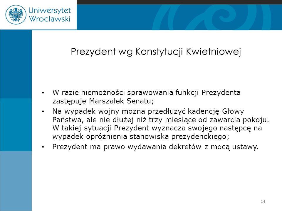 Prezydent wg Konstytucji Kwietniowej W razie niemożności sprawowania funkcji Prezydenta zastępuje Marszałek Senatu; Na wypadek wojny można przedłużyć