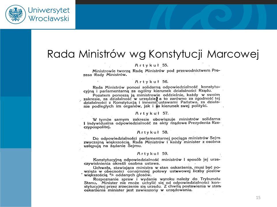 Rada Ministrów wg Konstytucji Marcowej 15