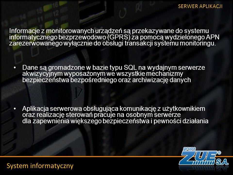 Szkic historyczny System informatyczny SERWER APLIKACJI Informacje z monitorowanych urządzeń są przekazywane do systemu informatycznego bezprzewodowo (GPRS) za pomocą wydzielonego APN zarezerwowanego wyłącznie do obsługi transakcji systemu monitoringu.