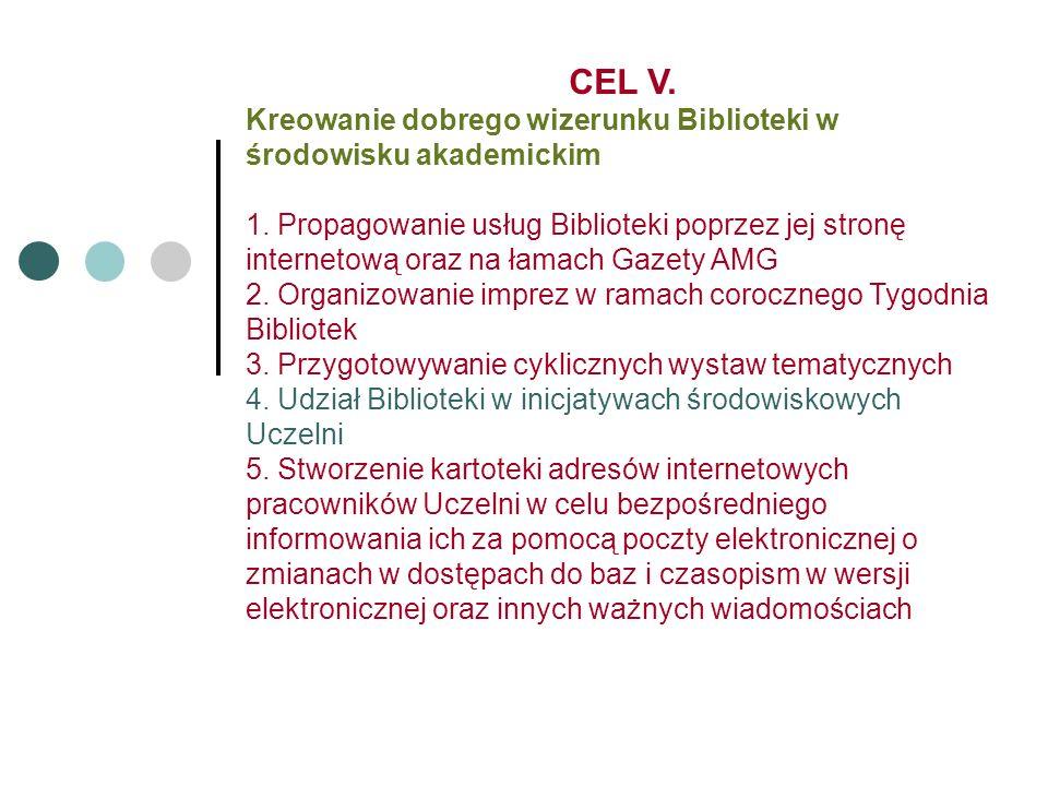 CEL V. Kreowanie dobrego wizerunku Biblioteki w środowisku akademickim 1.