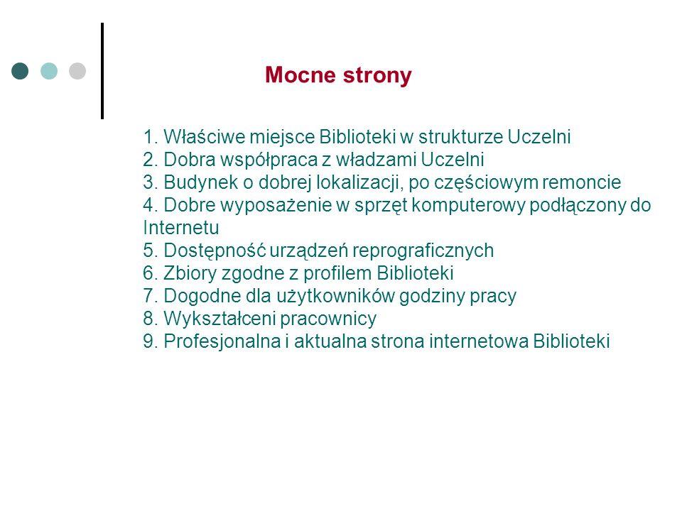 1. Właściwe miejsce Biblioteki w strukturze Uczelni 2.