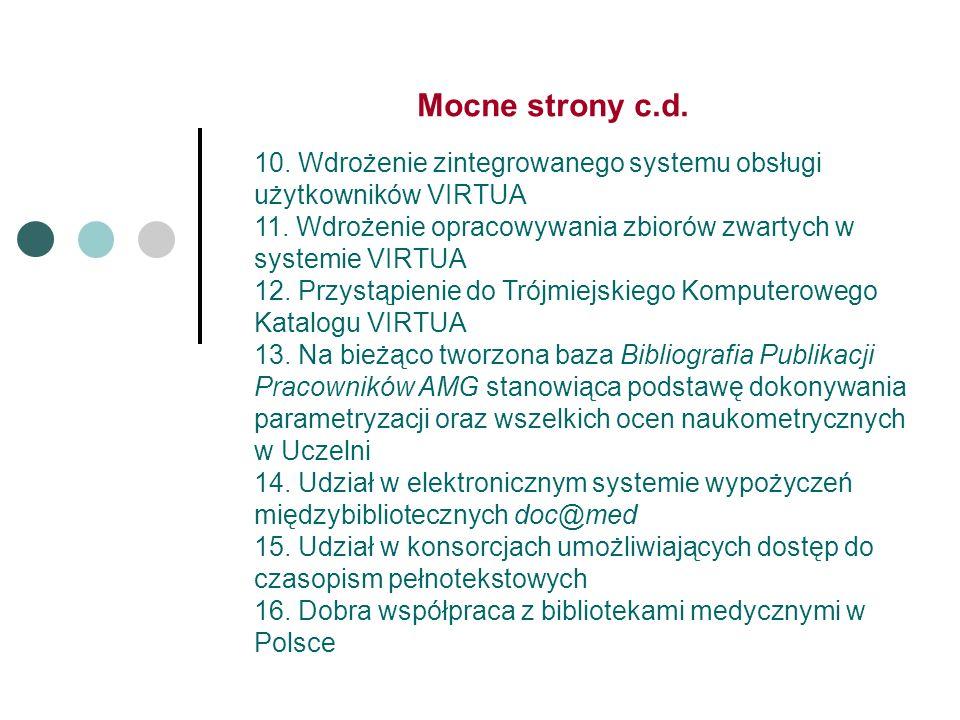 Mocne strony c.d. 10. Wdrożenie zintegrowanego systemu obsługi użytkowników VIRTUA 11.