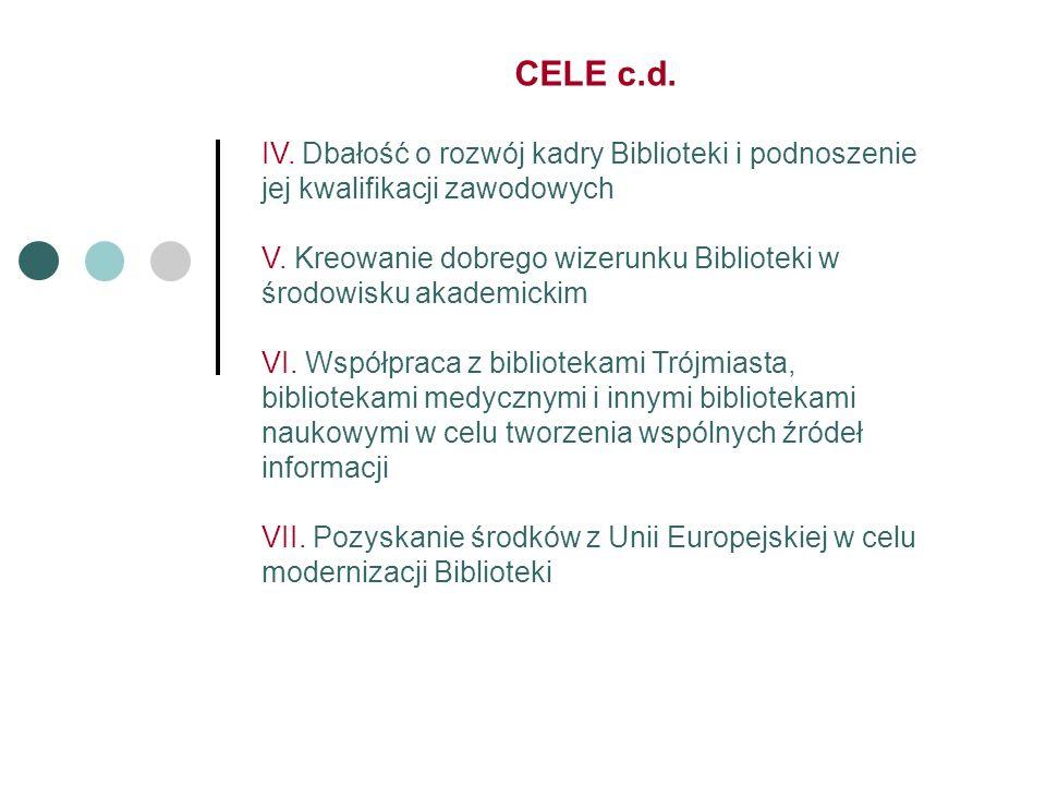 CELE c.d. IV. Dbałość o rozwój kadry Biblioteki i podnoszenie jej kwalifikacji zawodowych V.
