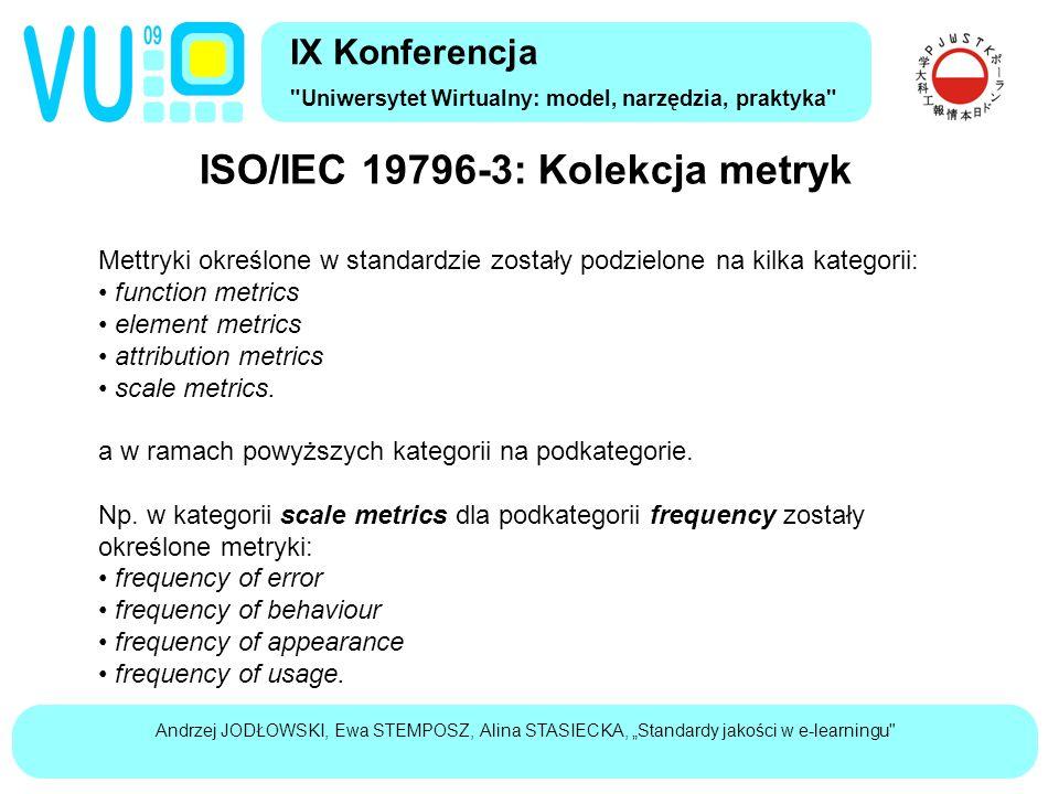 """Andrzej JODŁOWSKI, Ewa STEMPOSZ, Alina STASIECKA, """"Standardy jakości w e-learningu ISO/IEC 19796-3: Kolekcja metryk IX Konferencja Uniwersytet Wirtualny: model, narzędzia, praktyka Mettryki określone w standardzie zostały podzielone na kilka kategorii: function metrics element metrics attribution metrics scale metrics."""
