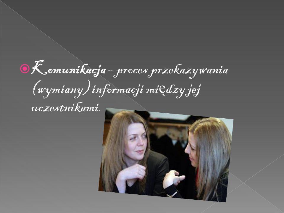  Komunikacja – proces przekazywania (wymiany) informacji mi ę dzy jej uczestnikami.