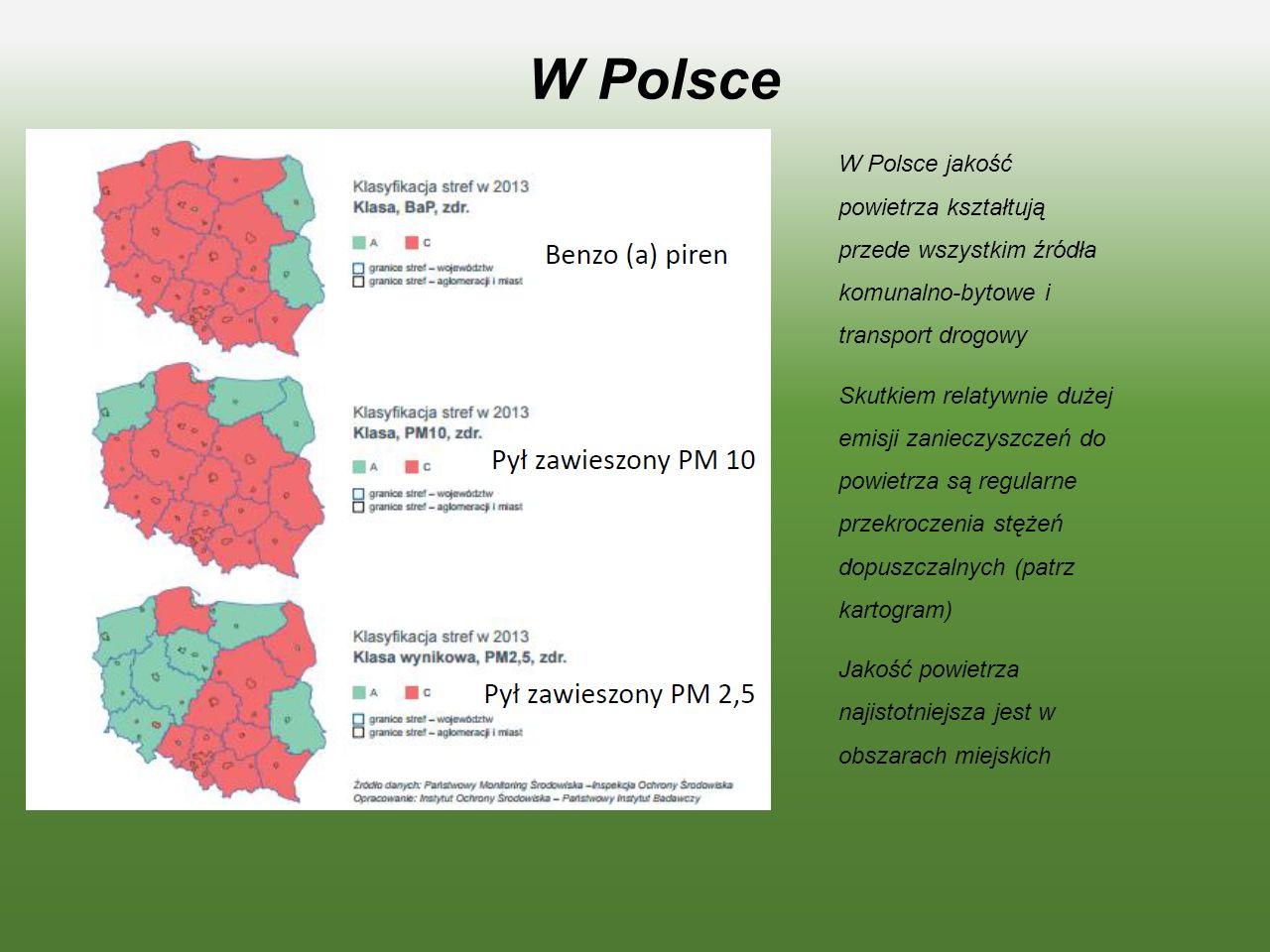 W Polsce W Polsce jakość powietrza kształtują przede wszystkim źródła komunalno-bytowe i transport drogowy Skutkiem relatywnie dużej emisji zanieczyszczeń do powietrza są regularne przekroczenia stężeń dopuszczalnych (patrz kartogram) Jakość powietrza najistotniejsza jest w obszarach miejskich