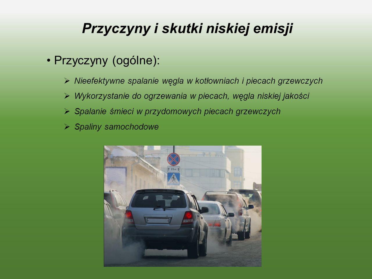 Przyczyny i skutki niskiej emisji Przyczyny (ogólne):  Nieefektywne spalanie węgla w kotłowniach i piecach grzewczych  Wykorzystanie do ogrzewania w piecach, węgla niskiej jakości  Spalanie śmieci w przydomowych piecach grzewczych  Spaliny samochodowe