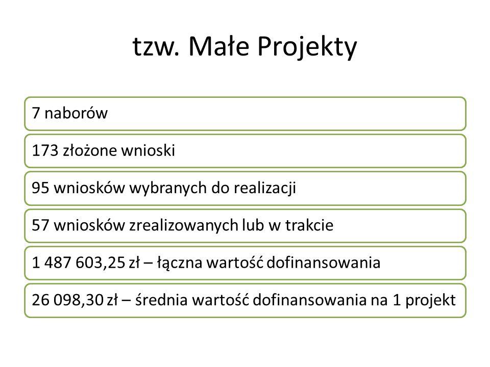tzw. Małe Projekty 7 naborów173 złożone wnioski95 wniosków wybranych do realizacji57 wniosków zrealizowanych lub w trakcie1 487 603,25 zł – łączna war