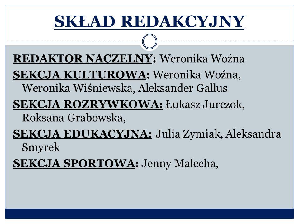 SKŁAD REDAKCYJNY REDAKTOR NACZELNY: Weronika Woźna SEKCJA KULTUROWA: Weronika Woźna, Weronika Wiśniewska, Aleksander Gallus SEKCJA ROZRYWKOWA: Łukasz