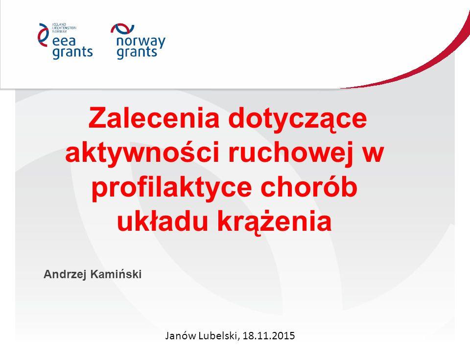 Zalecenia dotyczące aktywności ruchowej w profilaktyce chorób układu krążenia Andrzej Kamiński Janów Lubelski, 18.11.2015