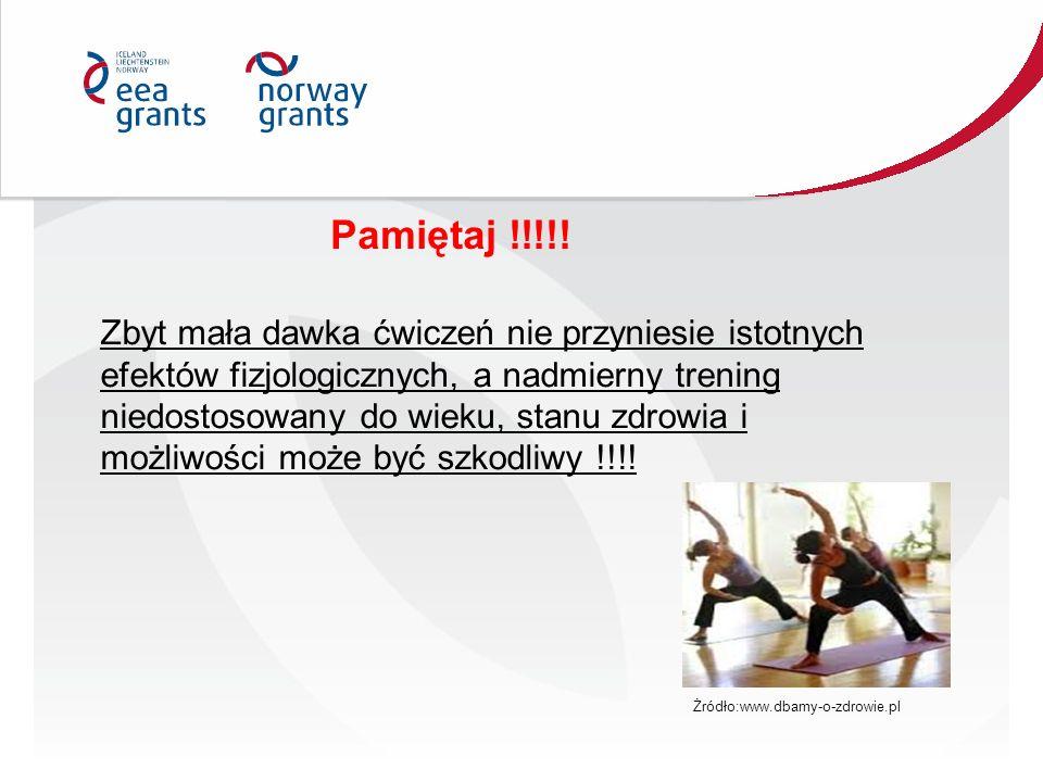Pamiętaj !!!!! Zbyt mała dawka ćwiczeń nie przyniesie istotnych efektów fizjologicznych, a nadmierny trening niedostosowany do wieku, stanu zdrowia i