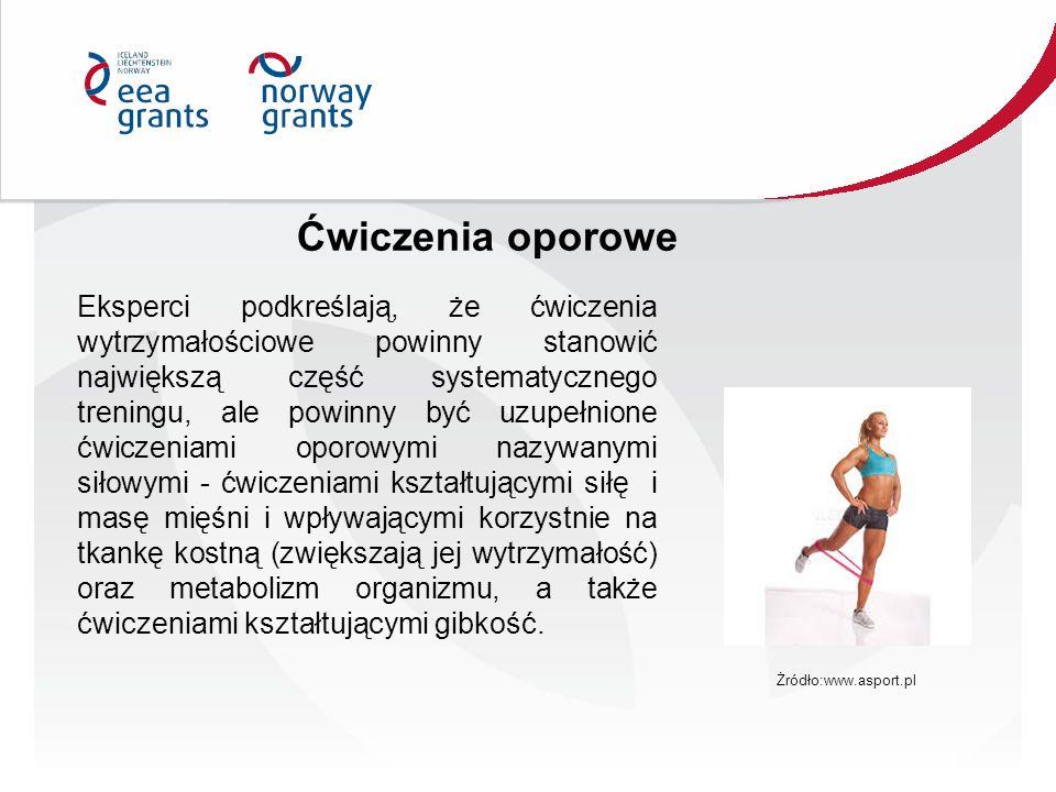 Ćwiczenia oporowe Eksperci podkreślają, że ćwiczenia wytrzymałościowe powinny stanowić największą część systematycznego treningu, ale powinny być uzup