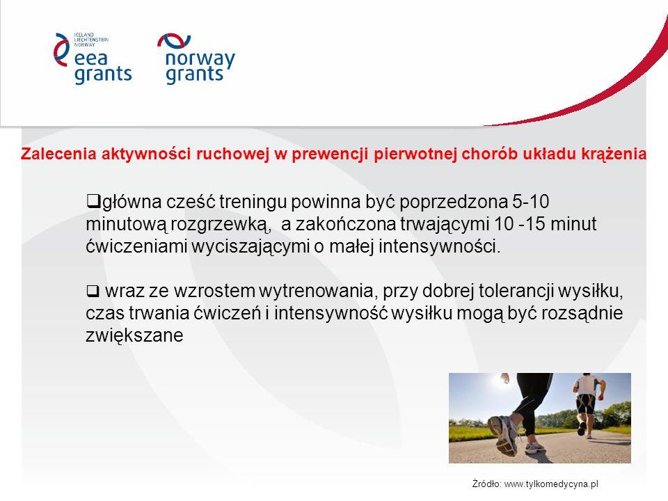 Zalecenia aktywności ruchowej w prewencji pierwotnej chorób układu krążenia  główna cześć treningu powinna być poprzedzona 5-10 minutową rozgrzewką,