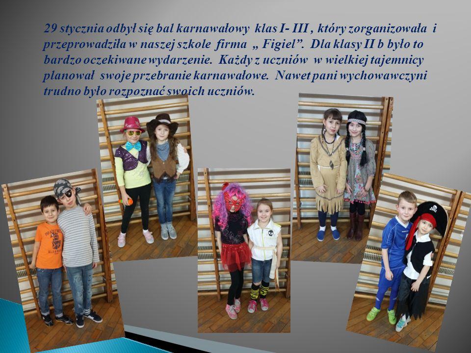 """29 stycznia odbył się bal karnawałowy klas I- III, który zorganizowała i przeprowadziła w naszej szkole firma """" Figiel ."""