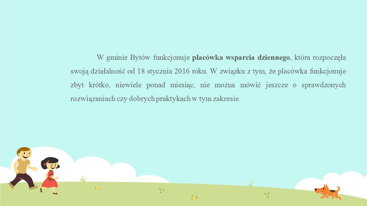 W gminie Bytów funkcjonuje placówka wsparcia dziennego, która rozpoczęła swoją działalność od 18 stycznia 2016 roku. W związku z tym, że placówka funk