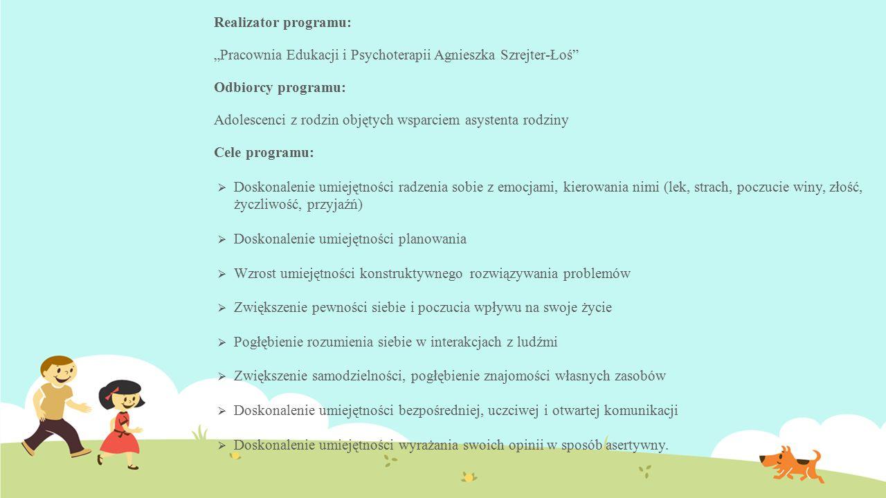 """Realizator programu: """"Pracownia Edukacji i Psychoterapii Agnieszka Szrejter-Łoś"""" Odbiorcy programu: Adolescenci z rodzin objętych wsparciem asystenta"""