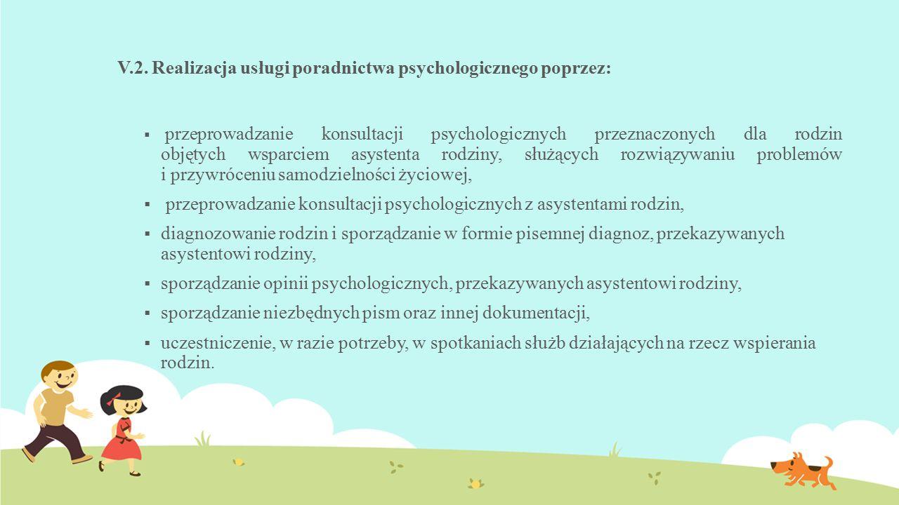 V.2. Realizacja usługi poradnictwa psychologicznego poprzez:  przeprowadzanie konsultacji psychologicznych przeznaczonych dla rodzin objętych wsparci