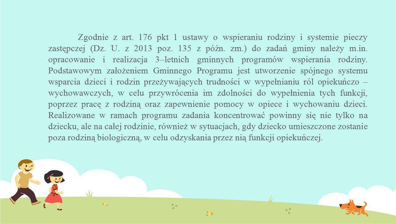 Zgodnie z art. 176 pkt 1 ustawy o wspieraniu rodziny i systemie pieczy zastępczej (Dz. U. z 2013 poz. 135 z późn. zm.) do zadań gminy należy m.in. opr