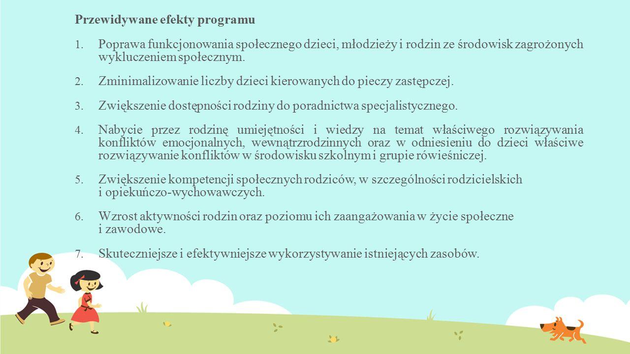 Przewidywane efekty programu 1. Poprawa funkcjonowania społecznego dzieci, młodzieży i rodzin ze środowisk zagrożonych wykluczeniem społecznym. 2. Zmi