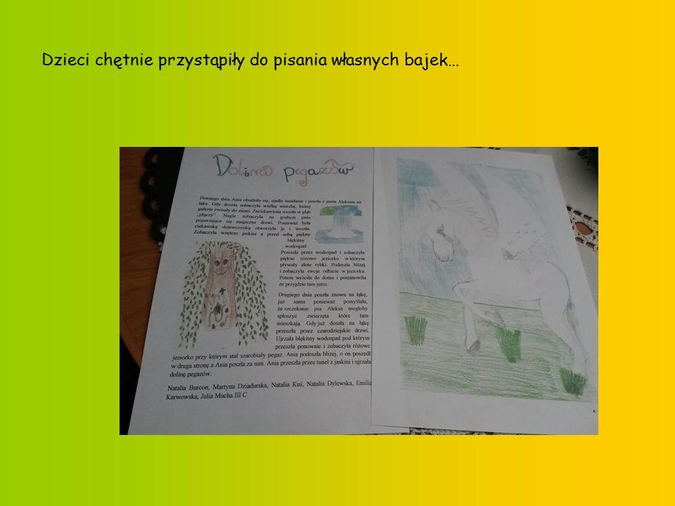 Dzieci chętnie przystąpiły do pisania własnych bajek…