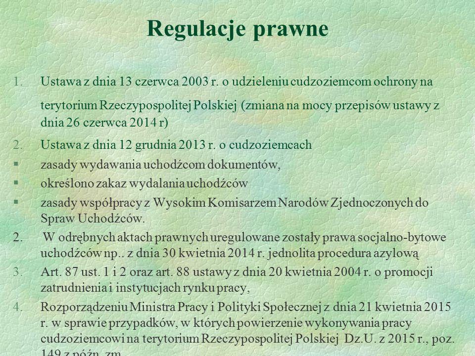 Regulacje prawne 1.Ustawa z dnia 13 czerwca 2003 r. o udzieleniu cudzoziemcom ochrony na terytorium Rzeczypospolitej Polskiej (zmiana na mocy przepisó
